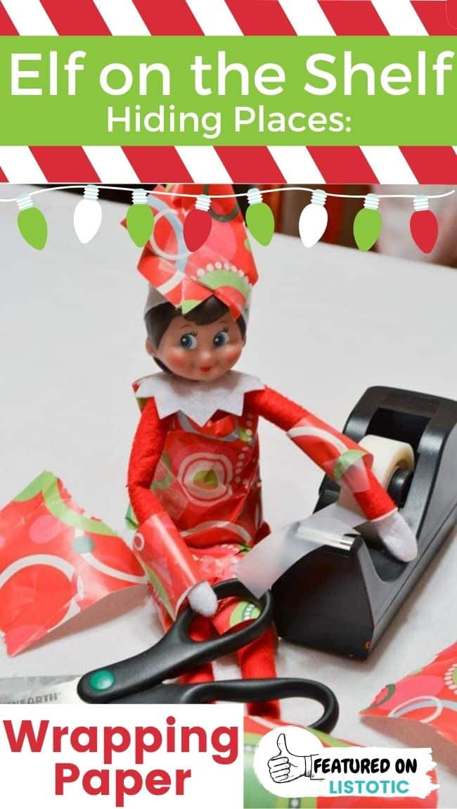 An Elf on the Shelf doll entangled in wrapping paper
