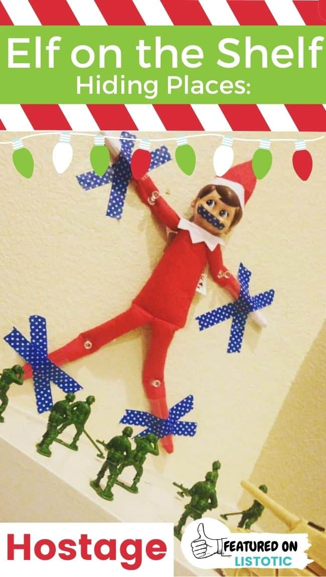 An Elf on the Shelf captured by green army men toys.