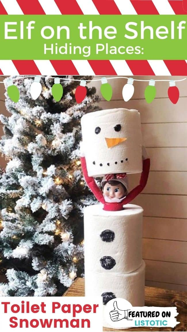 An Elf on the Shelf doll disguised as a toilet paper snowman.