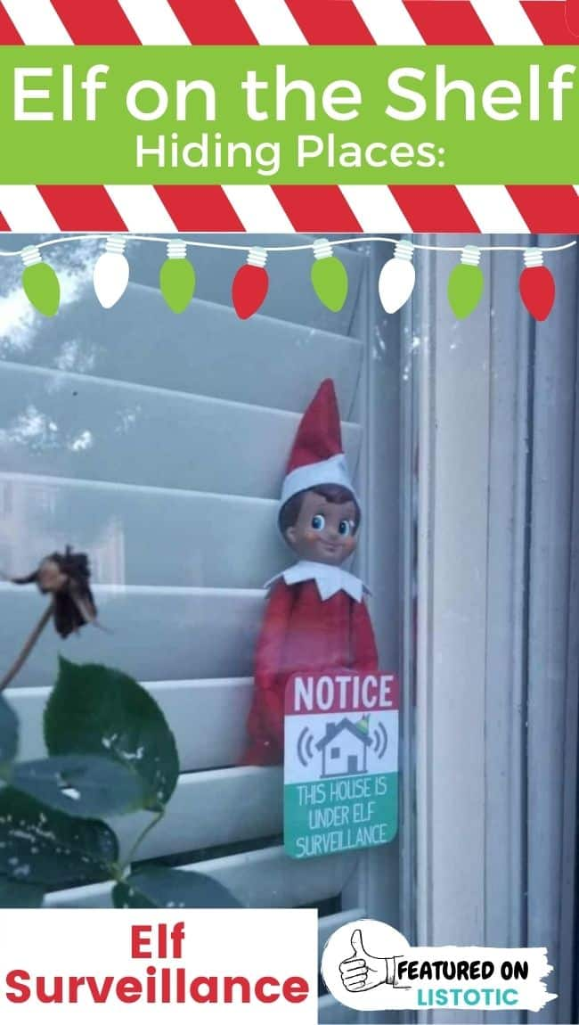 An Elf on the Shelf with a free Elf Surveillance printable.