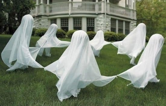 ghosts dancing in the yard
