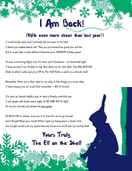 Printable letter from the Elf on the Shelf stating the Christmas Elf is back