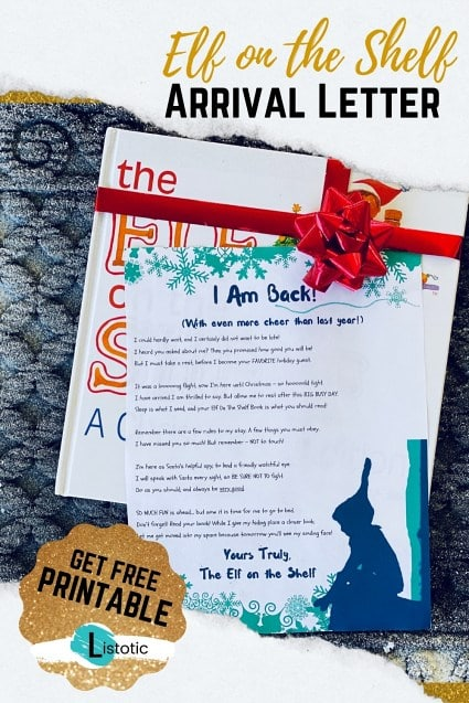 Printable letter for the Elf on the Shelf attached to the elf on the shelf book with a red ribbon