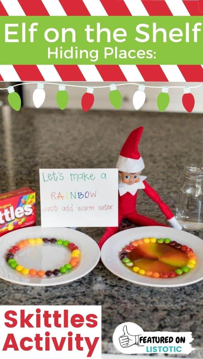 An Elf on the Shelf Skittles rainbow experiment.