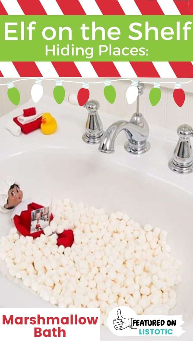And Elf on the Shelf doll in a sink filled with marshmallows.