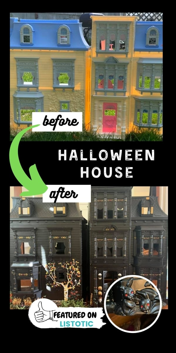 Halloween doll house decorated with black spray paint