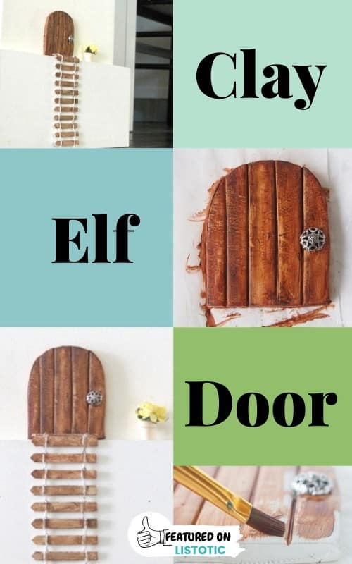 Elf door made with clay and elf ladder all that is missing is Elf foot prints leading to the magic entrance on the wall