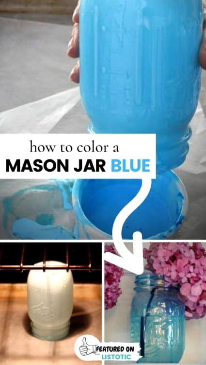 idea to change a clear mason jar into a antique blue mason jar a diy craft for how to color a mason jar blue. Person using blue paint and putting a mason jar in the oven to create a blue tinted mason jar for rustic home decor