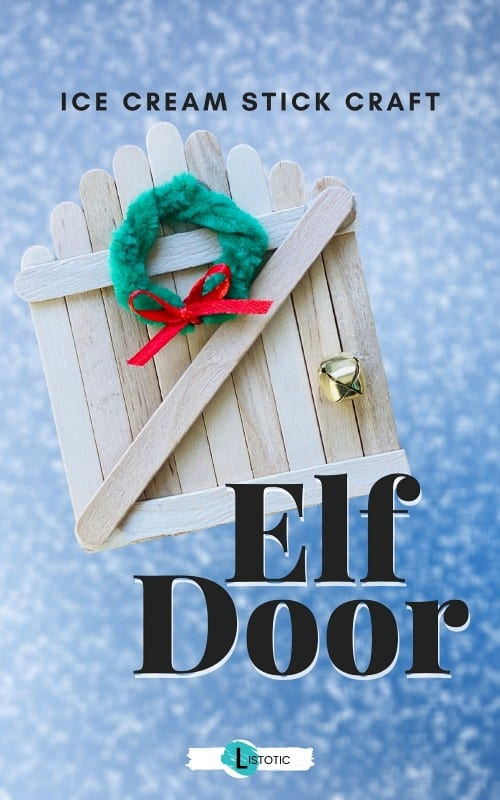 Elf on the shelf door using ice cream sticks as a DIY craft idea for Christmas