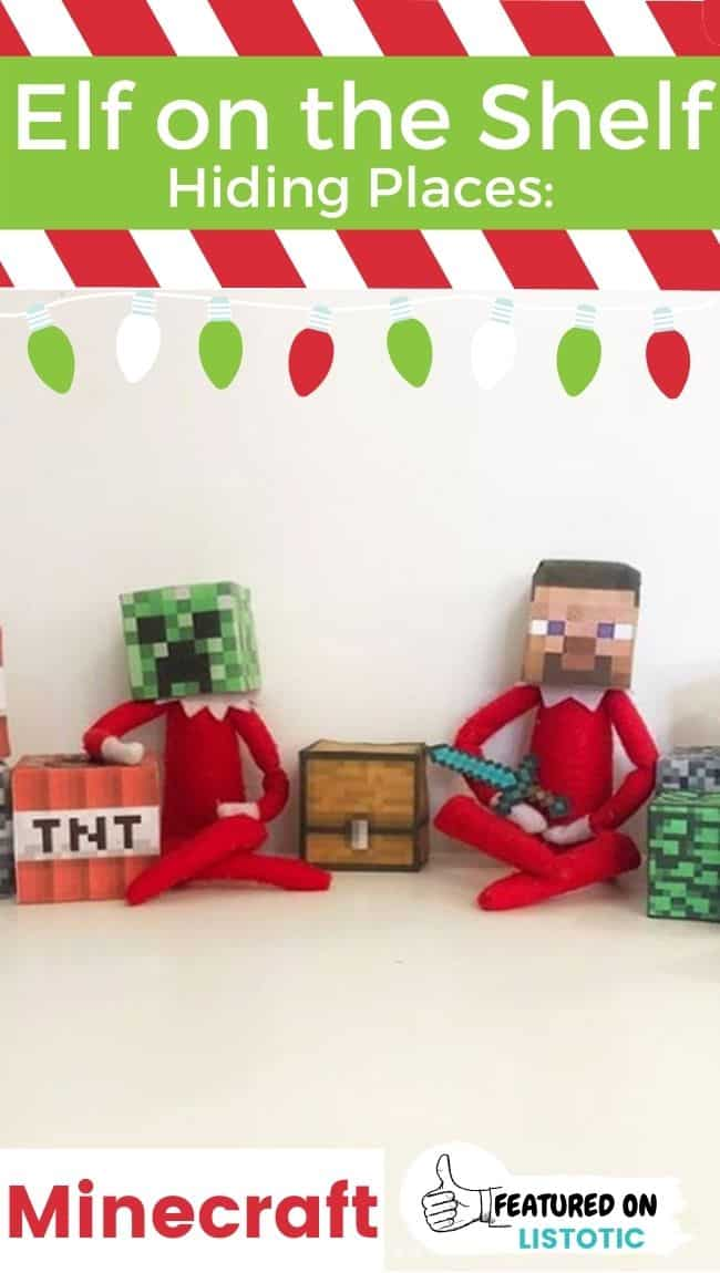 Two Elf on the Shelf dolls wearing Minecraft themed hats with Minecraft themed props.