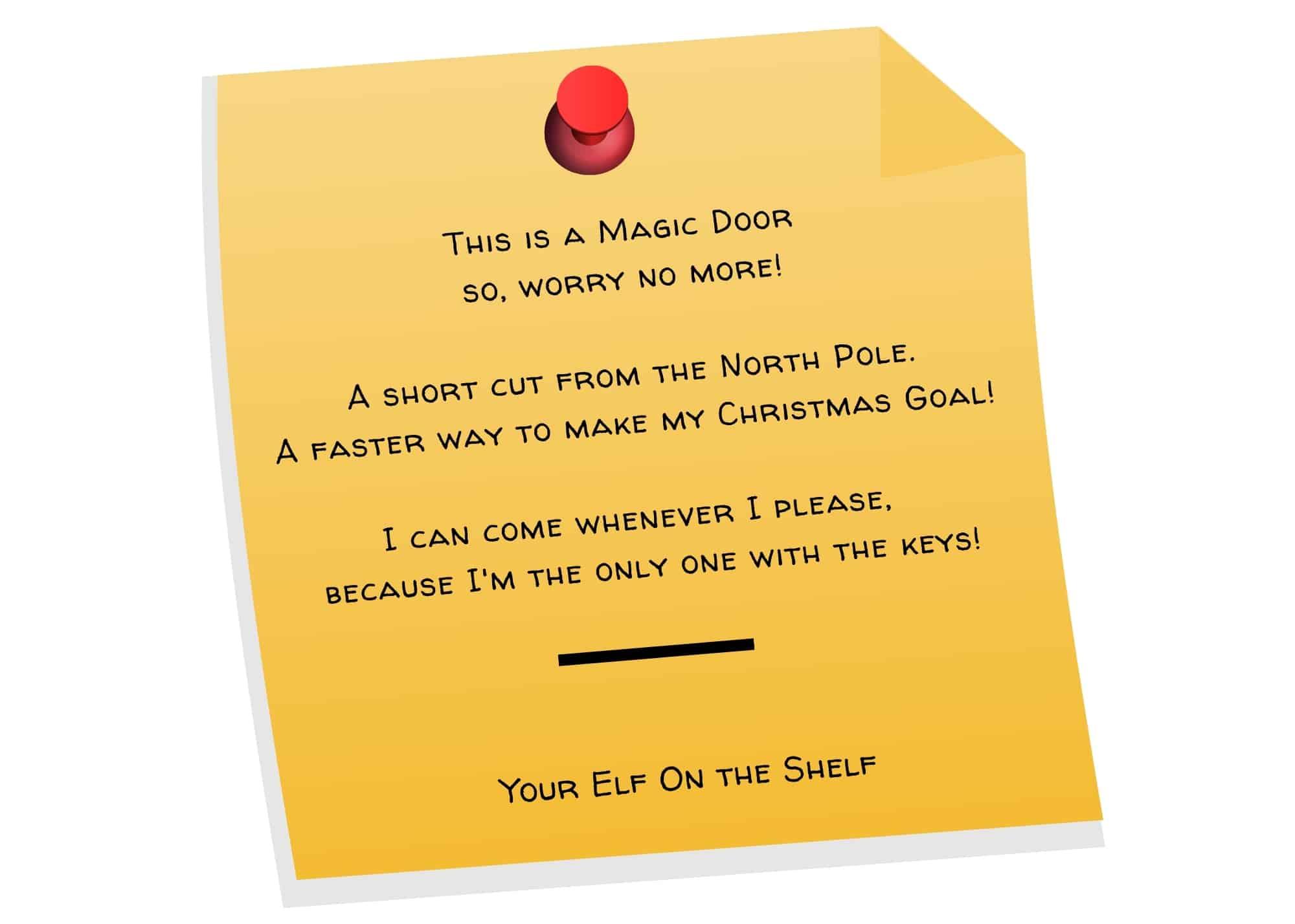 poem for elf on the shelf door and how to make an elf door