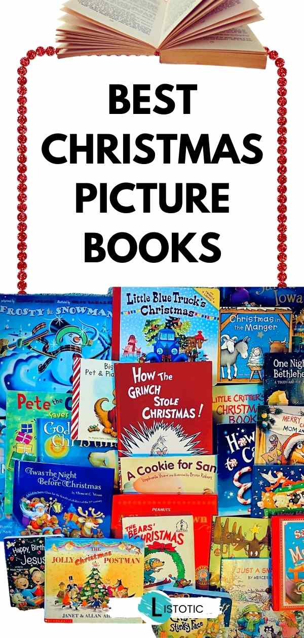 Stacked Christmas Books for kids