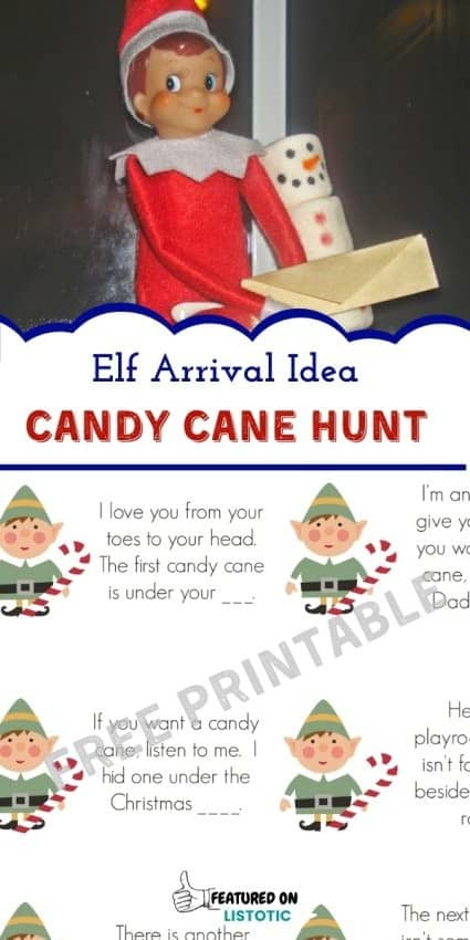 Free printable Candy cane scavenger hunt idea for Christmas Elf
