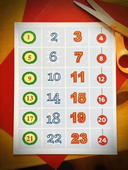 free printable number for Christmas book countdown activity