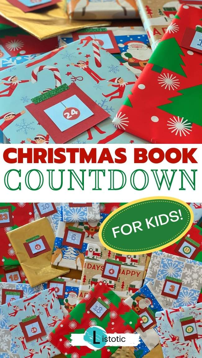wrapped books for Christmas advent calendar