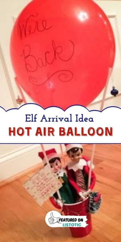 homemade hot air balloon for the Christmas Elf return