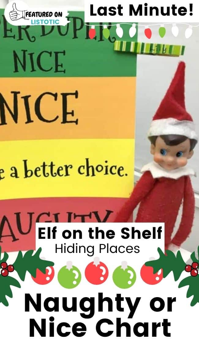 Elf on the Shelf naughty or nice chart.