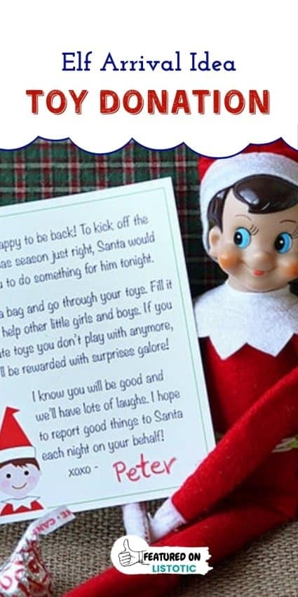 Elf holding a printable letter requesting kids to make a toy donation