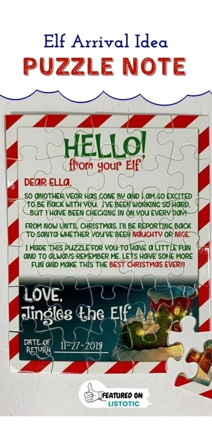 Personalized puzzle with message letting families know about the Elf on the shelf arrival.