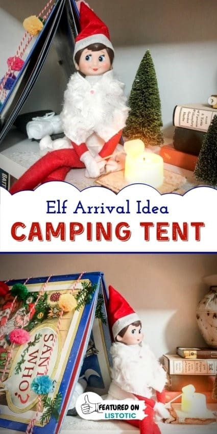 Elf on the shelf with book tent and flameless candle campfire
