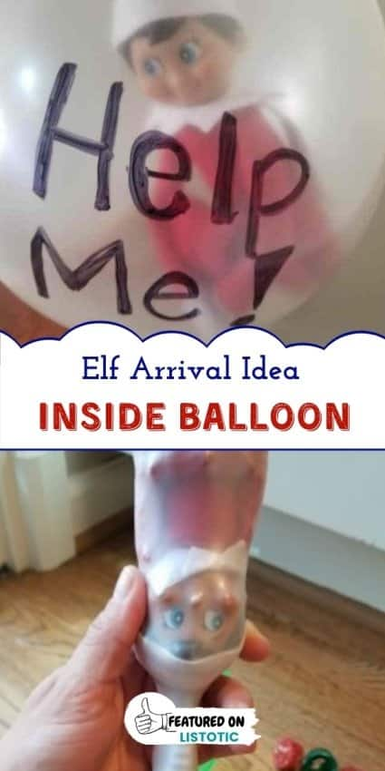 Funny Elf on the shelf idea of Elf stuck in a balloon
