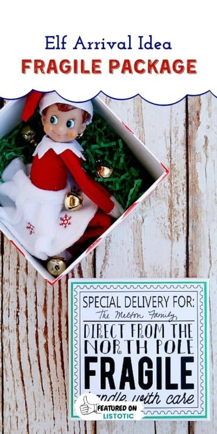 Elf on the shelf special delivery printable for Elf on the shelf return ideas Elf in a box waiting to be opened.