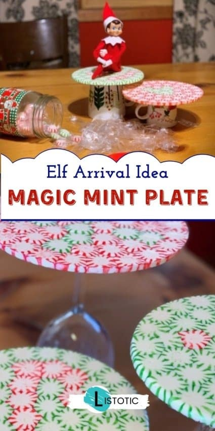 Elf on the shelf idea with melted mint plate craft on the dinning room table and empty mint wrappers all over.