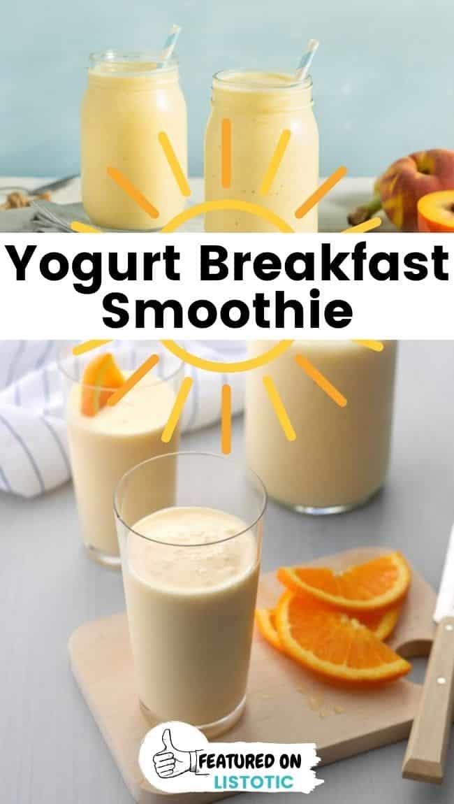 Yogurt breakfast smoothie drink with peaches and oranges.