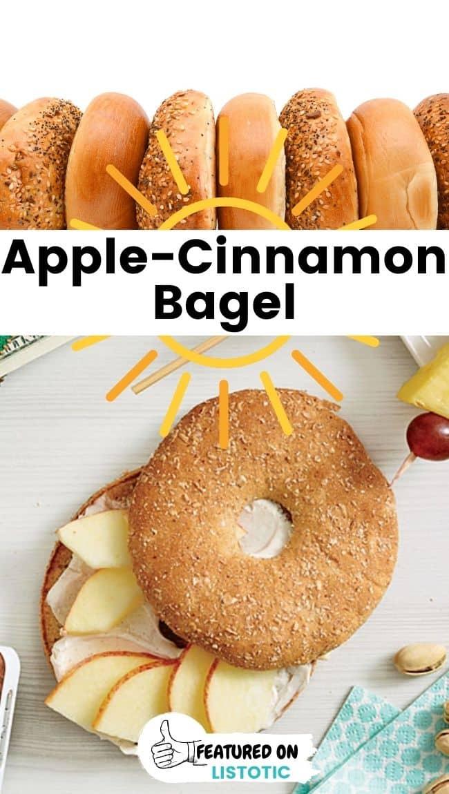 Apple cinnamon bagel quick breakfast ideas on the go.