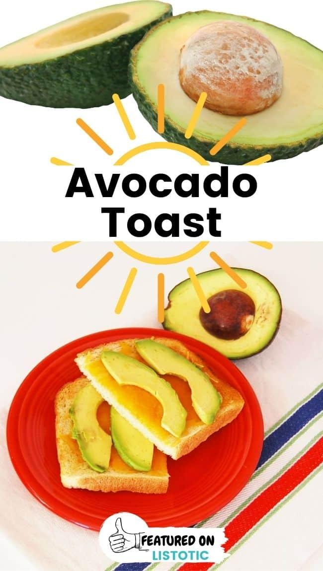 Avocado-Toast mit Käse-Schnellfrühstücksideen für unterwegs.
