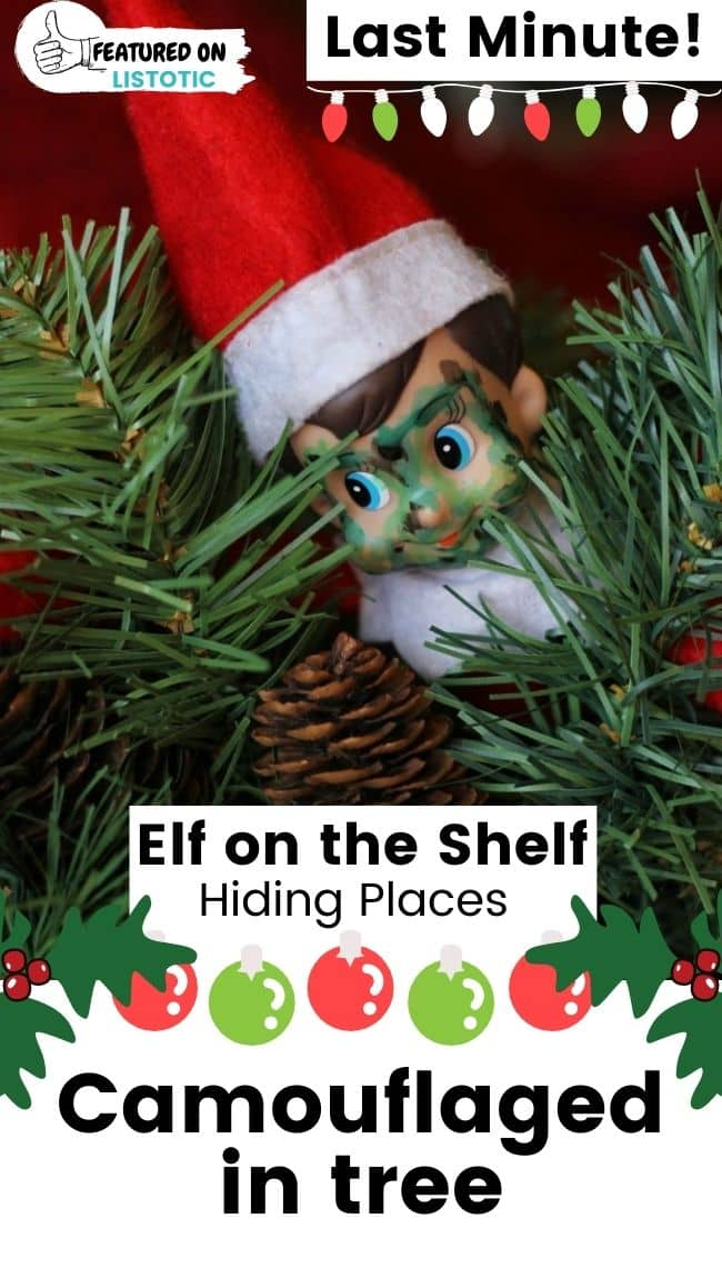Elf on the Shelf Christmas tree camouflage.