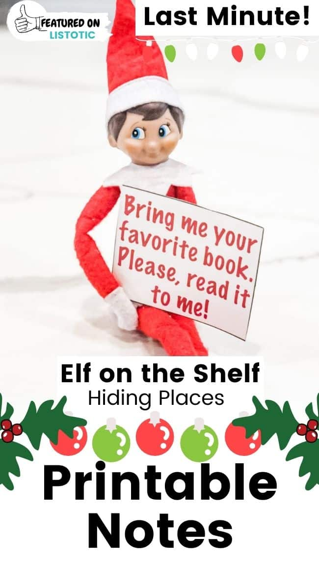 Elf on the Shelf printable notes.