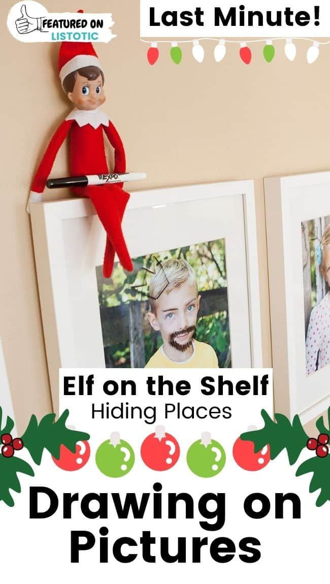 Elf on the Shelf drawing on pictures.