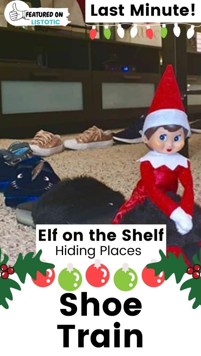 Elf on the Shelf shoe train.