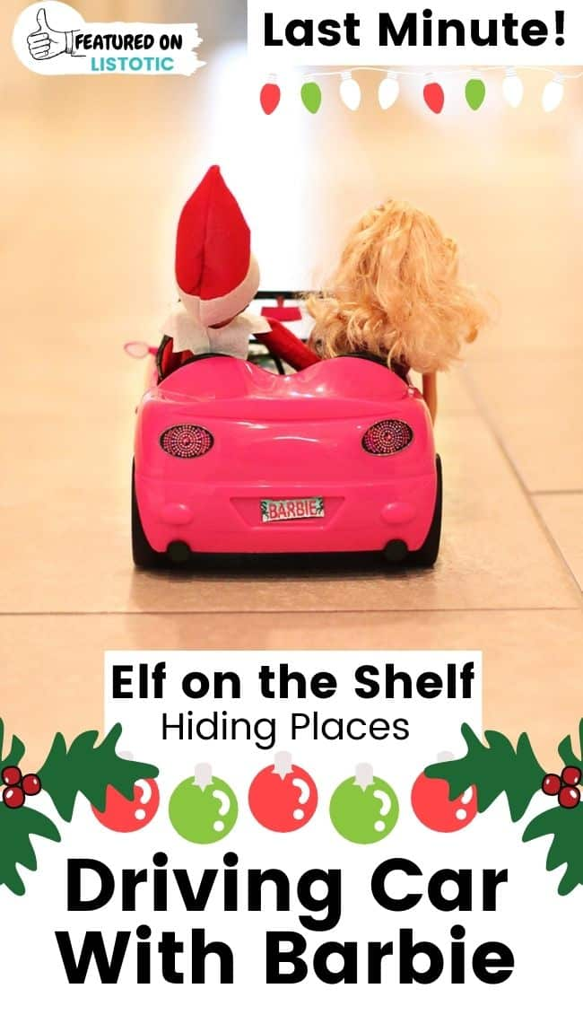 Elf on the Shelf driving car with Barbie.