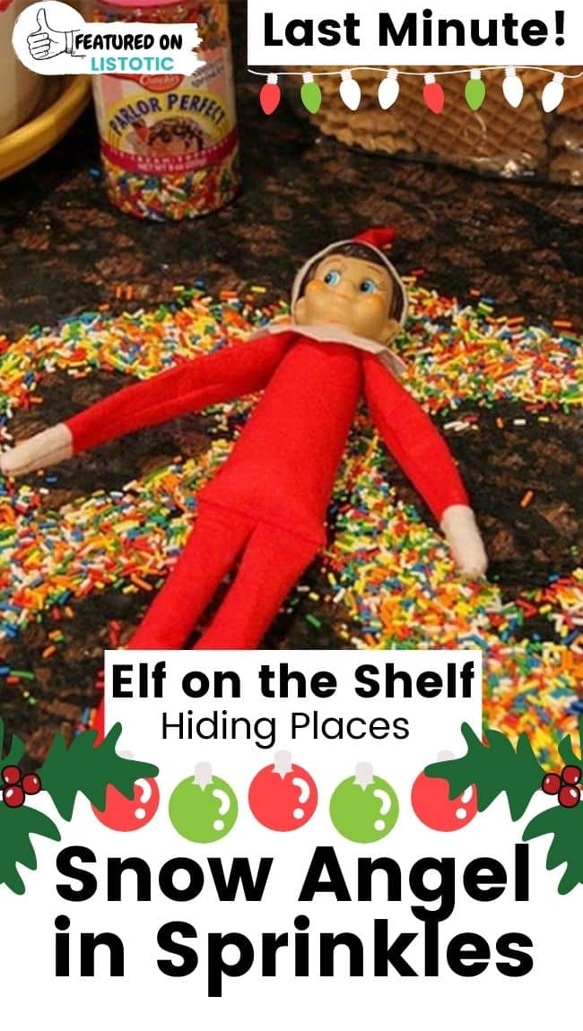 Elf on the Shelf snow angel in sprinkles.