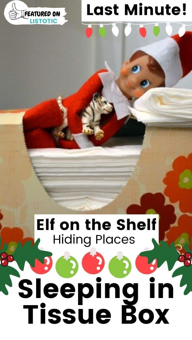Elf on the Shelf sleeping in box of tissues.
