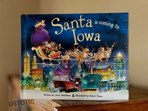 Santa is coming to Iowa picture book for Christmas bedtime stories