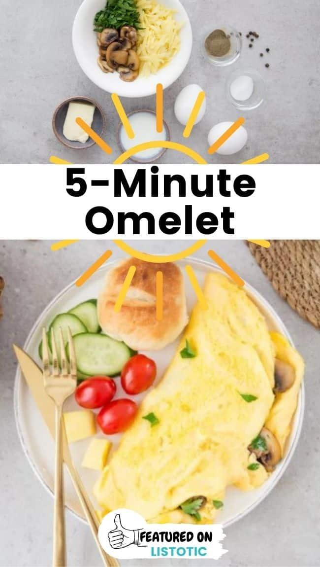 Einfache Frühstücksideen fünf Minuten Omelett.