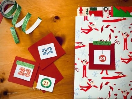 book and paper pieces to make Christmas Countdown Activity