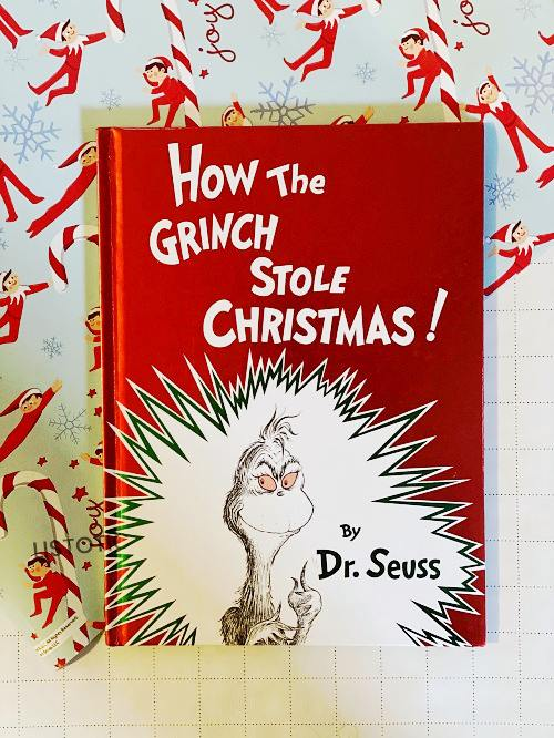 One of the best Christmas picture books the Grinch who stole Christmas on elf on the shelf wrapping paper