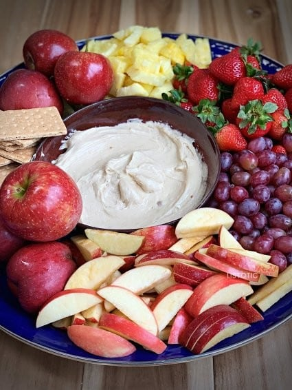 Kid friendly appetizer dips for fruit recipe with apples grapes pineapples and gram crackers