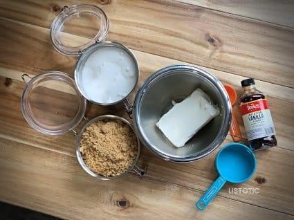 sugar, brown sugar, vanilla and cream cheese ingredients for cream cheese fruit dip recipe