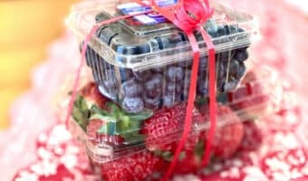blueberries and strawberries with ribbon