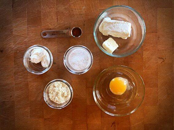 measured ingredients for keto mug cheese cake