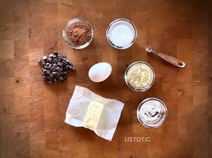 measured ingredients to chocolate mug cake