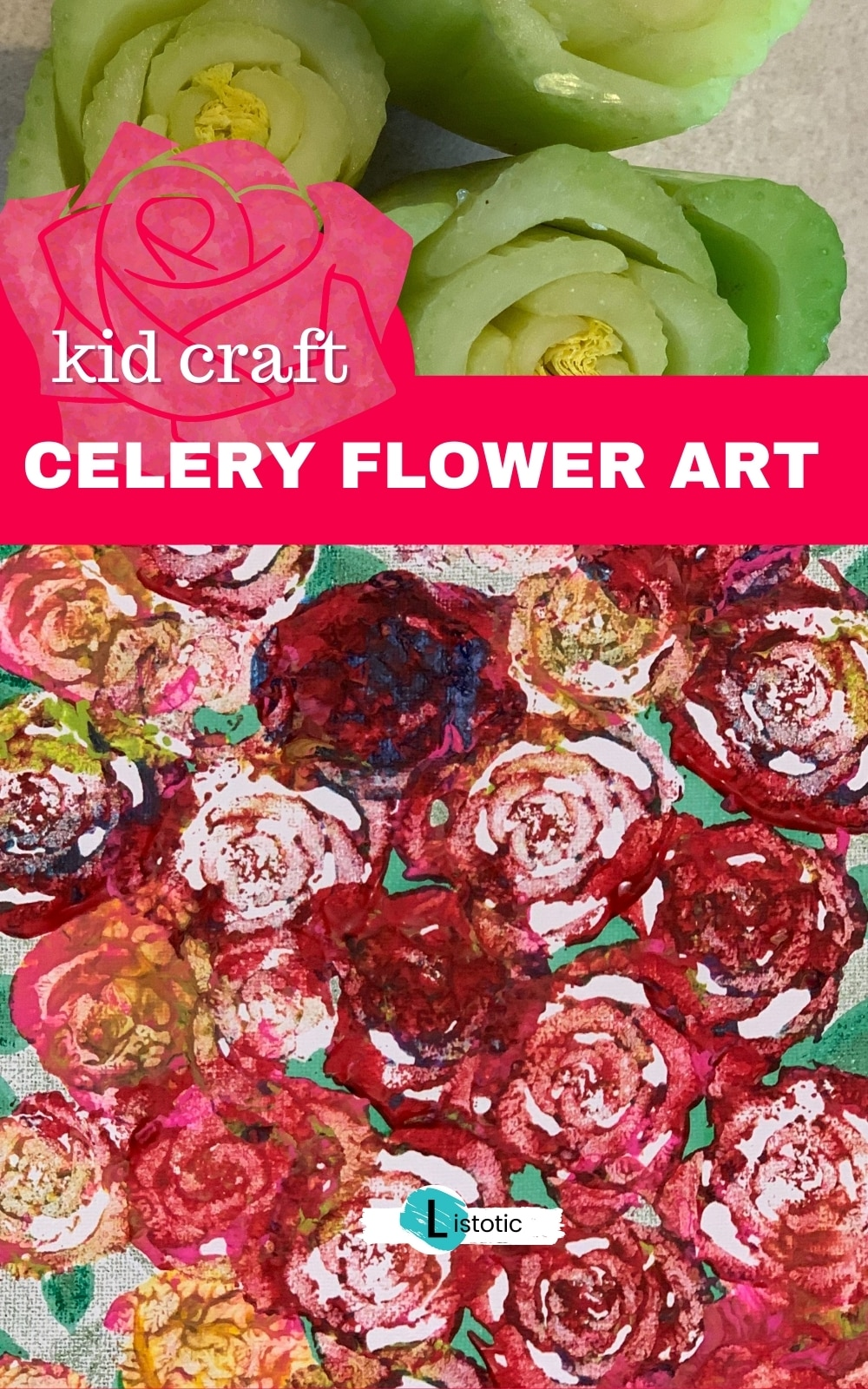 Craft idea for kids or adults using paint and vegetables