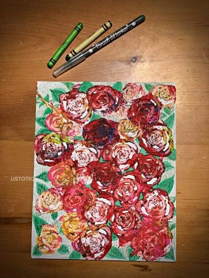 easy flower painting made by kids using celery stamps