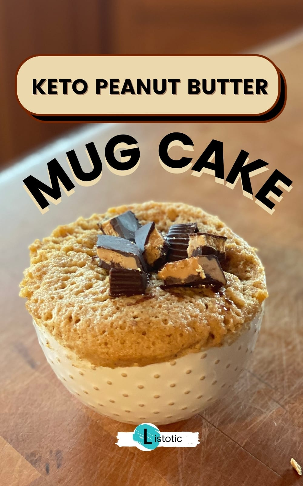 Keto mug cake dessert with peanut butter cup topping