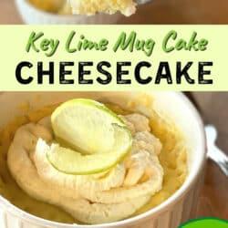key lime mug cake dessert with fork taking a bite
